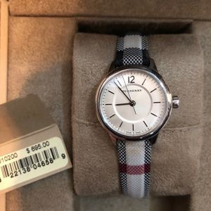 Women's silver canvas Burberry watch